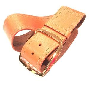 NANETTE LEPORE chunky brown leather belt